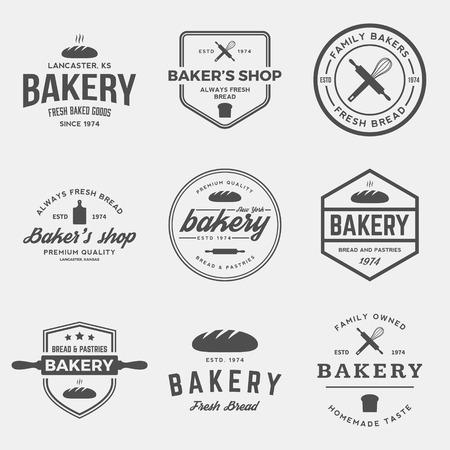 panadero: vector conjunto de etiquetas de panadería, escudos y elementos de diseño
