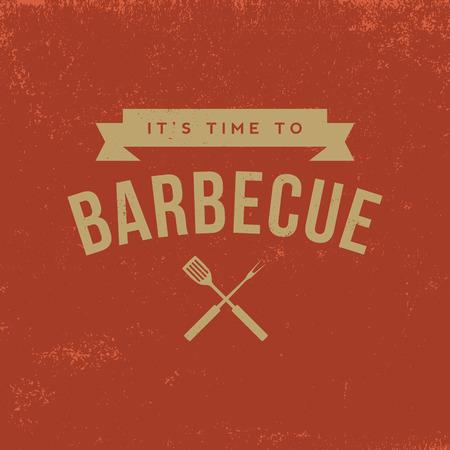 steak grill: barbecue badge on red  grunge background Illustration