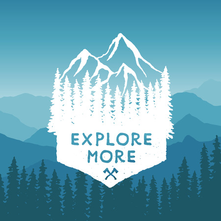 adventures: hand drawn wilderness typography poster with mountains and pine trees. explore more. artwork for hipster wear. vector Inspirational illustration on mountain background