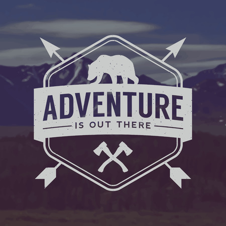vector outdoor adventure emblem. outdoor activity symbol with grunge texture on mountain landscape background Çizim