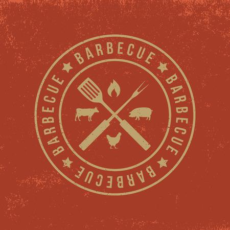 barbecue badge on red  grunge background Illustration