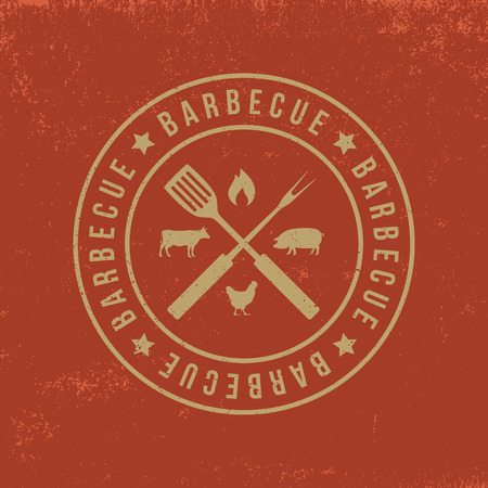 barbecue badge on red  grunge background 版權商用圖片 - 42858023