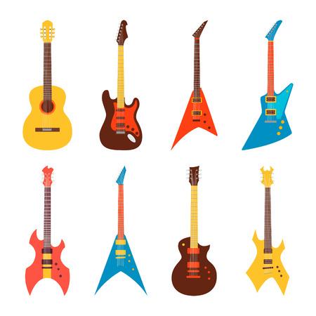 gitara: ustawić gitary akustyczne i elektryczne. ilustracji wektorowych w stylu mieszkania