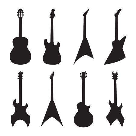 pickups: sagome di chitarra acustica e elettrica set. illustrazione vettoriale