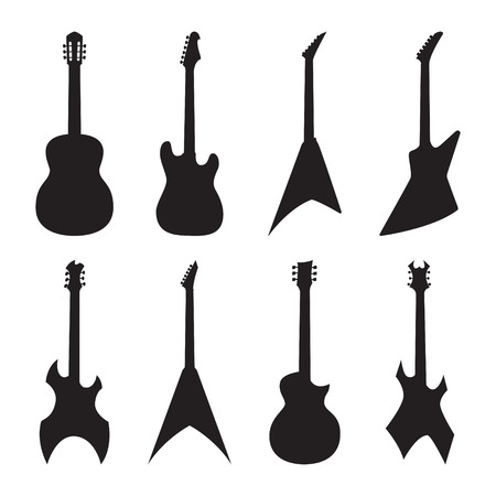 guitarra: siluetas de guitarra acústica y eléctrica establecidas. ilustración vectorial
