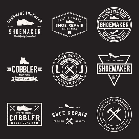 leather shoe: vector set of shoemaker and shoe repair labels, badges and design elements with grunge textures