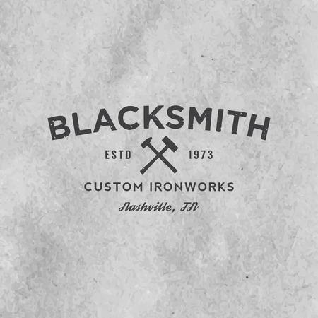 old paper background: blacksmith emblem with grunge texture on old paper background