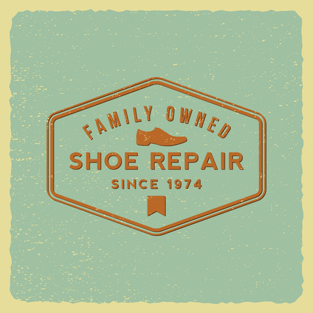 shoe repair: shoe repair label on grunge background Illustration