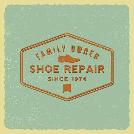 shoe repair label on grunge background Illustration