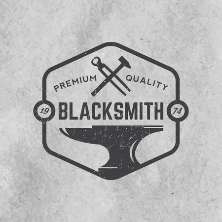 blacksmith: blacksmith emblem with grunge texture on old paper background