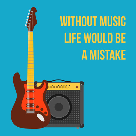 frets: Fondo de la m�sica con la guitarra el�ctrica y amplificador. estilo plano ilustraci�n vectorial