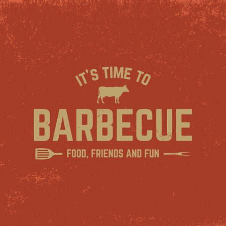 barbecue badge on red  grunge background  イラスト・ベクター素材