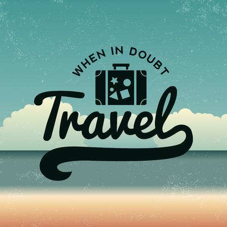 luggage travel: summer emblem on beach background with grunge texture
