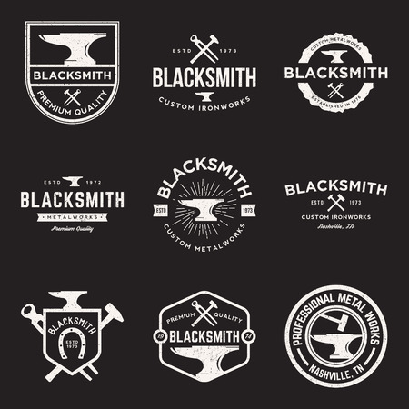 vector set of blacksmith vintage logos, emblems and design elements with grunge texture  イラスト・ベクター素材