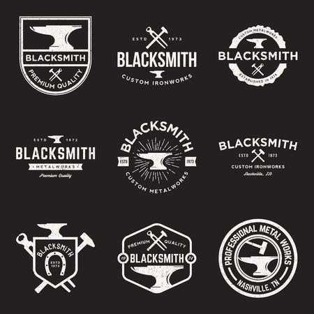 vector set of blacksmith vintage logos, emblems and design elements with grunge texture 일러스트