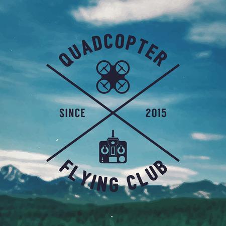 Quadrocopter badge,  vector illustration on background