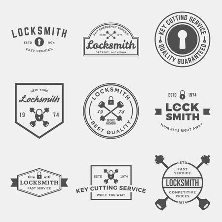 vector set of locksmith labels, badges and design elements  イラスト・ベクター素材