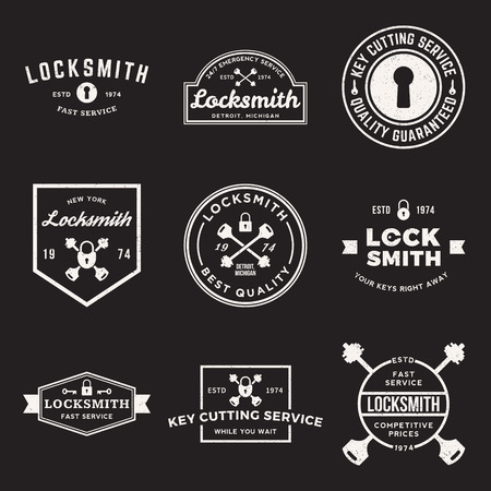 locksmith: vector set of locksmith labels, badges and design elements with grunge textures Illustration