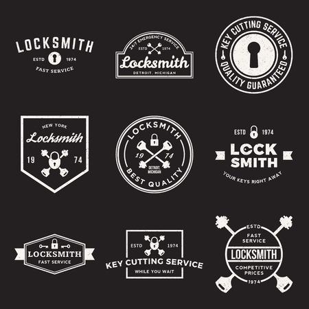 schlosser: Vektor-Reihe von Schlosser Etiketten, Abzeichen und Design-Elemente mit Grunge Texturen