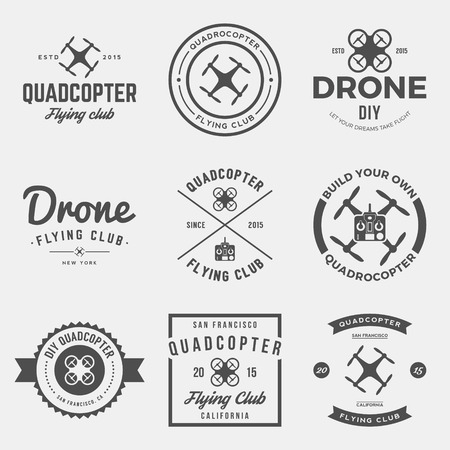 drone: vector set of drone flying club labels, badges and design elements