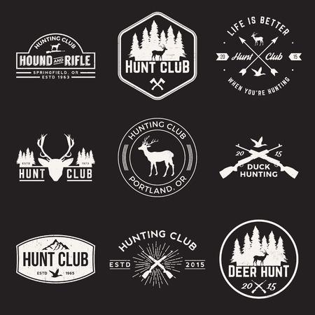 狩猟クラブのラベル、バッジとグランジ テクスチャ デザイン要素のベクトルを設定