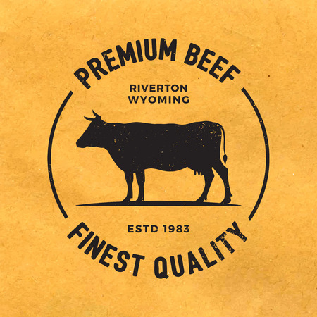 premium beef label with grunge texture on old paper background Vectores