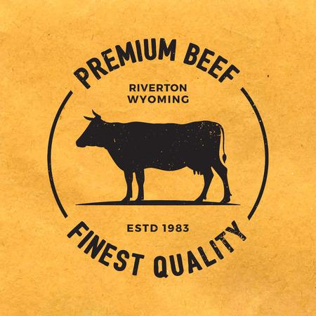 carnicero: etiqueta premium de carne con textura del grunge en el fondo de papel viejo Vectores