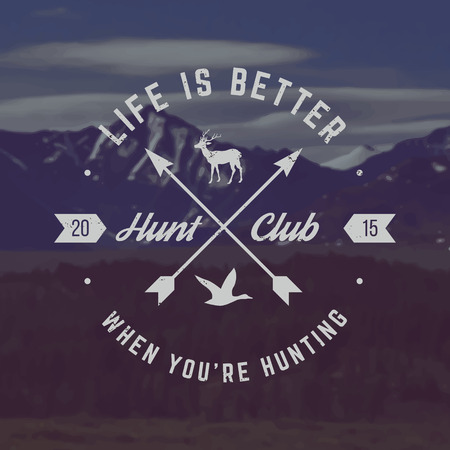 vector hunting club emblem with grunge texture on mountain landscape background Çizim