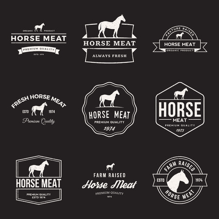 vector set of premium horse meat labels, badges and design elements with grunge textures Vectores