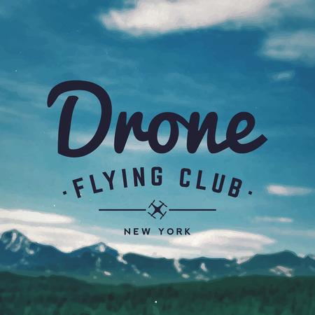mountain landscape: drone flying club emblem on mountain landscape background