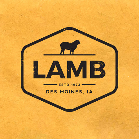 butcher shop: premium lamb label with grunge texture on old paper background