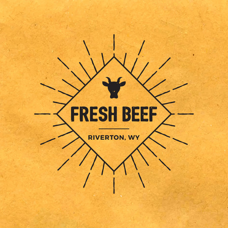 old paper background: premium beef label with grunge texture on old paper background Illustration