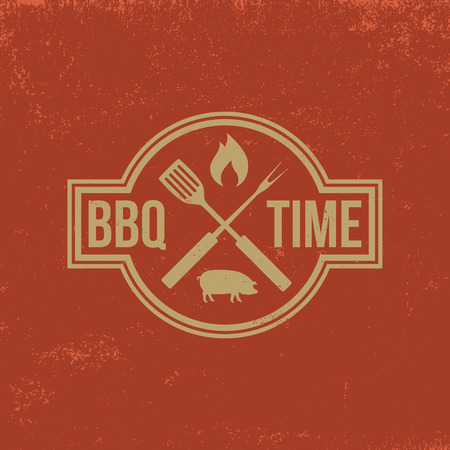 barbecue: barbecue badge on red  grunge background Illustration