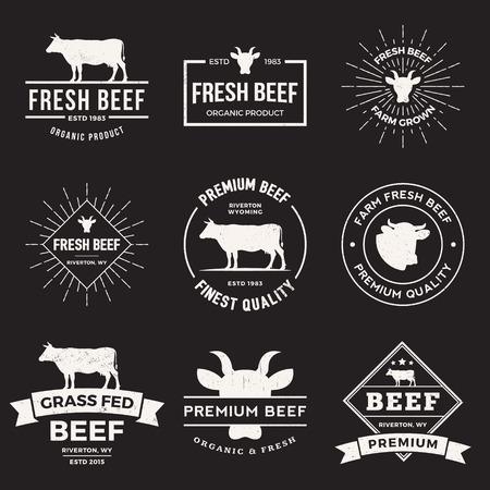 carnicero: vector conjunto de etiquetas de carne de alta calidad, insignias y elementos de diseño con texturas grunge.