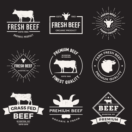 beef cuts: vector set of premium beef labels, badges and design elements  with grunge textures.