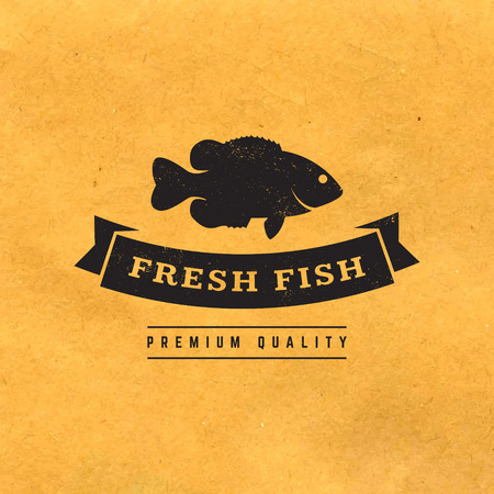 catch: fresh fish label with grunge texture on old paper background