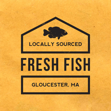 old paper background: fresh fish label with grunge texture on old paper background