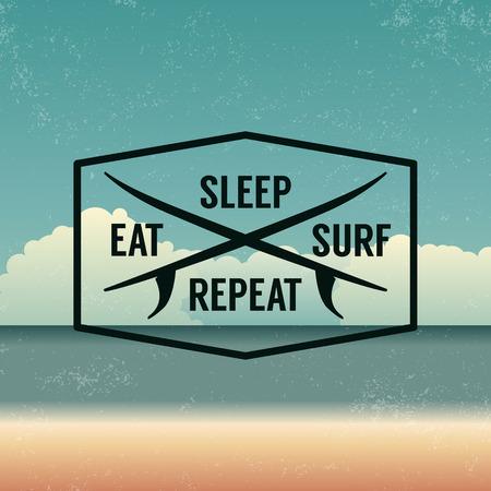 surf: summer emblem on beach background with grunge texture