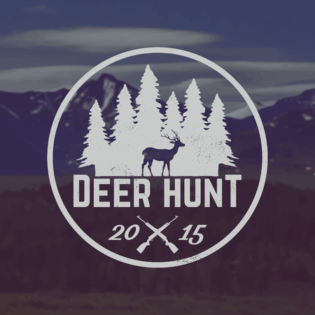 vector deer hunting emblem with grunge texture on mountain landscape background
