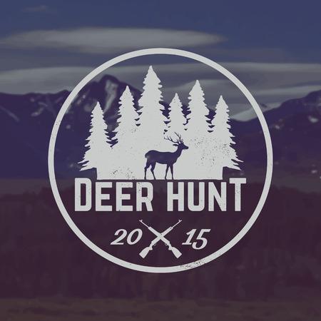 vector herten jagen embleem met grunge textuur op berglandschap achtergrond