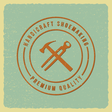 shoemaker label on grunge background Illustration
