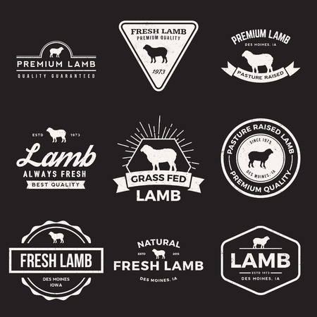 lamb: vector set of premium lamb labels, badges and design elements with grunge textures