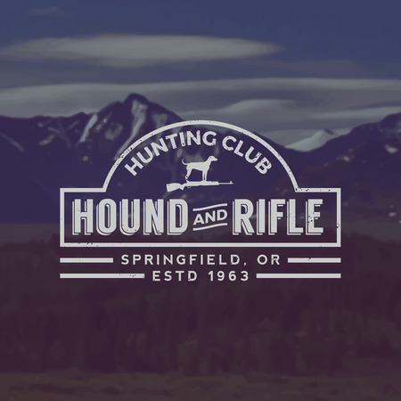 hunting rifle: vector hunting club emblem with grunge texture on mountain landscape background Illustration