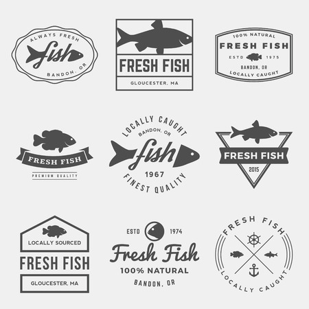 catches: vector set of fresh fish labels, badges and design elements Illustration
