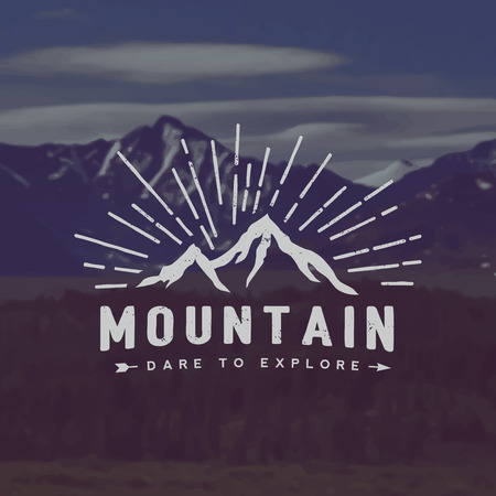 vector mountain exploration emblem. outdoor activity symbol with grunge texture on mountain landscape background Иллюстрация