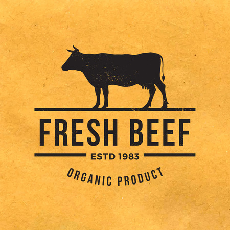 cow: premium beef label with grunge texture on old paper background Illustration
