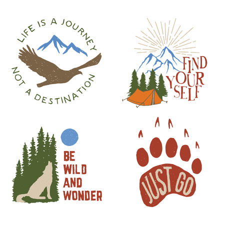 wilderness: set of wilderness hand drawn typography posters, emblems and quotes. artworks for hipster wear. vector Inspirational illustration