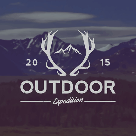 expedition: vector outdoor expedition emblem. outdoor activity symbol with grunge texture on mountain landscape background