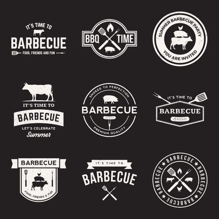 parrillero: vector conjunto de etiquetas para parrillas, insignias y elementos de diseño