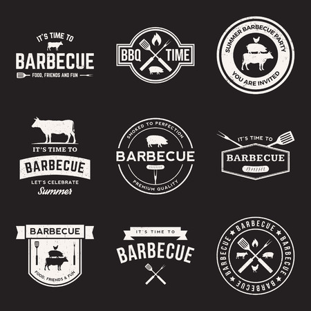 bbq picnic: vector set of barbecue labels, badges and design elements